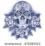 day of the dead skull and roses ... | Shutterstock . vector #670282522