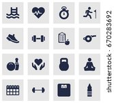 set of 16 training icons set... | Shutterstock .eps vector #670283692