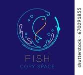 fish  fishing rod circle shape  ...