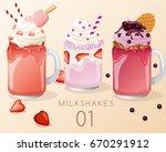 set of different  milkshakes ... | Shutterstock .eps vector #670291912