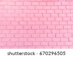 pastel pink ordered brick wall... | Shutterstock . vector #670296505