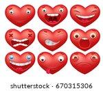 smiley red hearts emoticon... | Shutterstock .eps vector #670315306