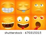 yellow cartoon emoticon square... | Shutterstock .eps vector #670315315
