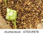 ketupat  rice dumpling  and...   Shutterstock . vector #670319878