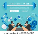 fitness man workout in gym with ... | Shutterstock .eps vector #670324306