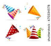 party hat color set tradition... | Shutterstock .eps vector #670334578