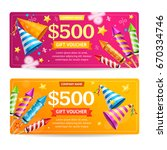 gift voucher template set with... | Shutterstock .eps vector #670334746