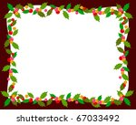 christmas frame with holly | Shutterstock .eps vector #67033492