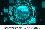 abstract technology network... | Shutterstock . vector #670335892