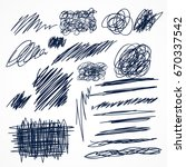 set of hand drawn ink pen...   Shutterstock .eps vector #670337542