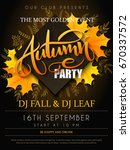 vector autumn party poster with ... | Shutterstock .eps vector #670337572