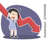 asian businesswoman in panic... | Shutterstock .eps vector #670346308