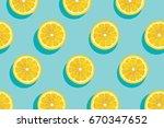 slices of fresh yellow lemon... | Shutterstock .eps vector #670347652