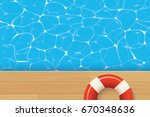 red pool ring and swimming pool.... | Shutterstock .eps vector #670348636