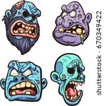 cartoon zombie heads. vector... | Shutterstock .eps vector #670349422