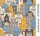 european houses set hand drawn...   Shutterstock .eps vector #670353586