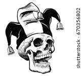 laughing jester skull | Shutterstock . vector #670356802