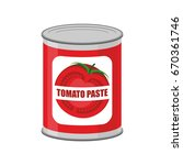 tomato paste tin can. canned... | Shutterstock .eps vector #670361746