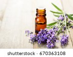 lavender essential oil in the... | Shutterstock . vector #670363108