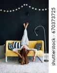 home portrait of pre teen child ... | Shutterstock . vector #670373725