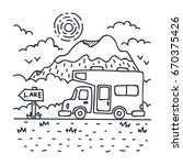 an rv is traveling in the wild  ... | Shutterstock .eps vector #670375426