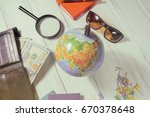 travel concept. globe  money... | Shutterstock . vector #670378648