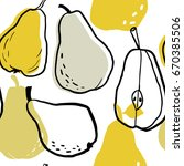 doodle hand drawn pear seamless ... | Shutterstock .eps vector #670385506