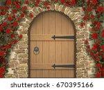 arch wooden door and roses   Shutterstock . vector #670395166