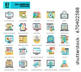 flat conceptual icons pack seo... | Shutterstock .eps vector #670402588
