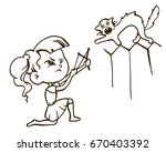 naughty little girl with a... | Shutterstock .eps vector #670403392