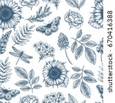 floral seamless pattern. linear ... | Shutterstock .eps vector #670416388