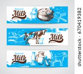 hand drawn sketch milk products ... | Shutterstock .eps vector #670419382