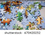 paper jigsaw puzzle pieces   Shutterstock . vector #670420252