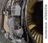 Small photo of Part of a modern turbofan aircraft engine closeup.