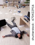 businessman dead on the office... | Shutterstock . vector #670422916