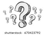 hand drawn question marks... | Shutterstock . vector #670423792