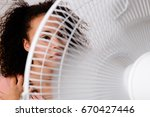 black woman feeling hot and... | Shutterstock . vector #670427446