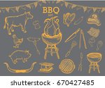 hand drawn barbecue elements.   Shutterstock .eps vector #670427485