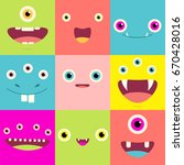 funny background with cute... | Shutterstock .eps vector #670428016