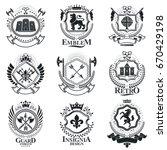 vintage decorative emblems...   Shutterstock .eps vector #670429198