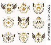 heraldic decorative emblems... | Shutterstock .eps vector #670429222