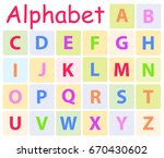 multycolored alphabet with 26... | Shutterstock .eps vector #670430602