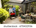 view at happy friends grilling... | Shutterstock . vector #670432936