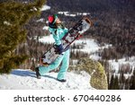 girl snowboarder enjoys the ski ... | Shutterstock . vector #670440286