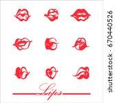 print of lips kiss. vector... | Shutterstock .eps vector #670440526