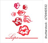 print of lips kiss. vector... | Shutterstock .eps vector #670440532