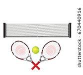 racket  net and tennis ball.... | Shutterstock .eps vector #670440916