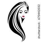 illustration of women long hair ... | Shutterstock .eps vector #670442032