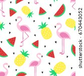 vector seamless tropical... | Shutterstock .eps vector #670443052