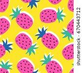vector seamless pineapple fruit ... | Shutterstock .eps vector #670443712